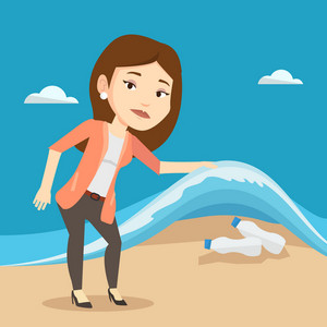 Caucasian woman showing plastic bottles under water of sea. Woman collecting plastic bottles from water. Water pollution and plastic pollution concept. Vector flat design illustration. Square layout.