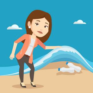 Caucasian woman showing plastic bottles under water of sea. Woman collecting plastic bottles from water. Water pollution and plastic pollution concept. Vector flat design illustration. Square layout.