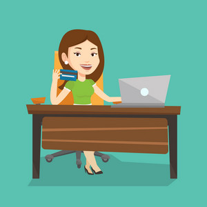 Caucasian woman sitting at the table with laptop and holding credit card in hand. Woman using laptop for online shopping. Woman shopping online at home. Vector flat design illustration. Square layout.