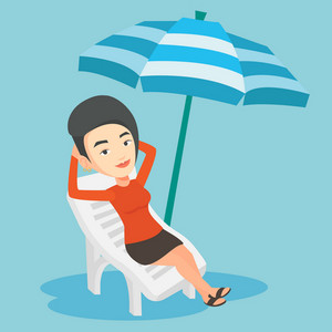 Caucasian woman sitting in a beach chair. Young woman resting on holiday while sitting under umbrella on a beach chair. Woman relaxing on a beach chair. Vector flat design illustration. Square layout.
