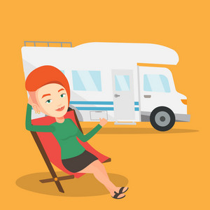 Caucasian woman sitting in a folding chair and giving thumb up on the background of camper van. Young happy woman enjoying her vacation in camper van. Vector flat design illustration. Square layout.
