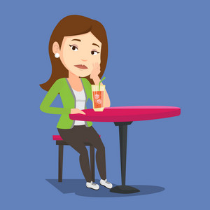 Caucasian woman sitting in bar and drinking cocktail. Young sad woman sitting alone in bar with cocktail on the table. Woman drinking cocktail in bar. Vector flat design illustration. Square layout.