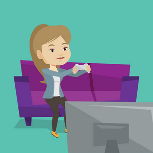 Caucasian woman sitting on a sofa and playing video game on the television. An excited young woman with console in hands playing video game at home. Vector flat design illustration. Square layout.