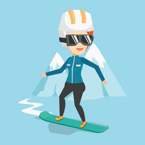 Caucasian woman snowboarding on the background of snow capped mountain. Snowboarder on piste in mountains. Young woman snowboarding in the mountains. Vector flat design illustration. Square layout.