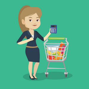 Caucasian woman standing near supermarket trolley with calculator in hand. Young woman checking prices on calculator. Customer counting on calculator. Vector flat design illustration. Square layout.