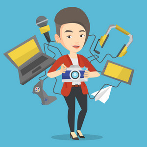 Caucasian woman taking photo with digital camera. Woman surrounded with gadgets. Woman using many electronic gadgets. Girl addicted to modern gadgets. Vector flat design illustration. Square layout.