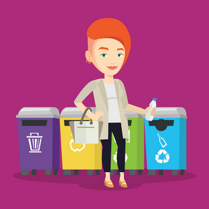 Caucasian woman throwing away garbage. Woman standing near four bins and throwing away garbage in an appropriate bin. Concept of garbage separation. Vector flat design illustration. Square layout.