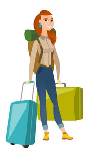 Caucasian woman traveler carrying suitcase. Young woman traveler with many suitcases. Happy woman passenger with backpack and suitcases. Vector flat design illustration isolated on white background.