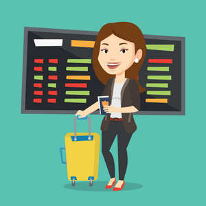 Caucasian woman waiting for a flight at the airport. Passenger holding passport and airplane ticket. Young woman with suitcase standing at the airport. Vector flat design illustration. Square layout.
