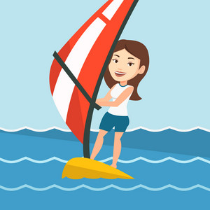 Caucasian woman windsurfing in a bright summer day. Woman standing on the board with sail and learning to windsurf. Windsurfer training on the water. Vector flat design illustration. Square layout.