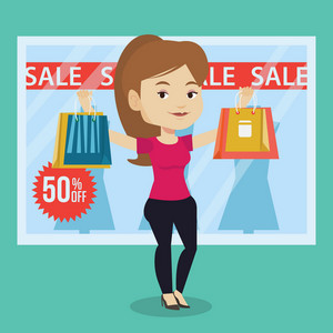 Caucasian woman with shopping bags standing in front of clothes shop with sale sign. Woman holding shopping bags in front of storefront with text sale. Vector flat design illustration. Square layout.