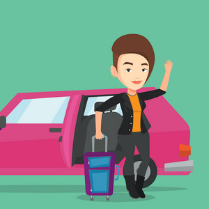 Caucasian woman with suitcase standing on the background of open car door. Young happy woman waving in front of car. Woman going to vacation by car. Vector flat design illustration. Square layout.