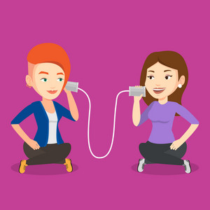 Caucasian women discussing something using tin can telephone. Woman getting message from friend on tin can phone. Friends talking through a tin phone. Vector flat design illustration. Square layout