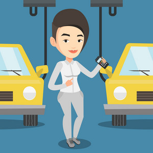 Caucasian worker of car factory. Happy young engineer at work on car factory. Worker controlling modern automated assembly line for cars. Car production. Vector flat design illustration. Square layout