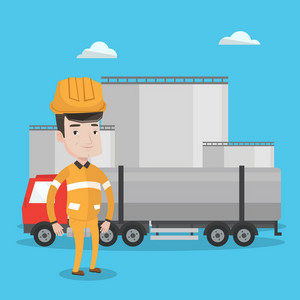 Caucasian worker of oil and gas industry. Refinery worker standing on the background of fuel truck and oil refinery plant. Man working at refinery plant. Vector flat design illustration. Square layout
