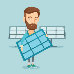 Caucasian worker of solar power plant holding solar panel in hands. Hipster man with panel in hands standing on the background of solar power plant. Vector flat design illustration. Square layout.