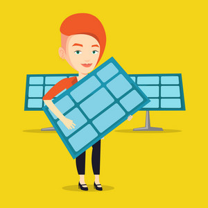 Caucasian worker of solar power plant holding solar panel in hands. Woman with panel in hands standing on the background of solar power plant. Vector flat design illustration. Square layout.