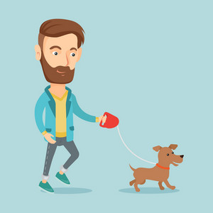 Caucasian young man with his dog. Hipster man with beard walking with his small dog. Happy man taking dog on walk. Smiling man walking a dog on leash. Vector flat design illustration. Square layout.