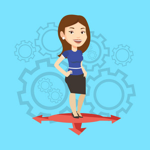 Caucasian young woman standing on three alternative career ways. Smiling woman choosing career way. Concept of career choices. Vector flat design illustration. Square layout.