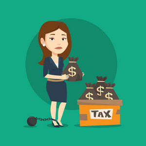 Chained to a ball female taxpayer standing near bags with taxes. Upset female taxpayer holding bag with dollar sign. Concept of tax time and taxpayer. Vector flat design illustration. Square layout.