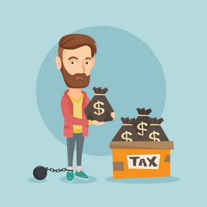 Chained to a ball hipster taxpayer with beard standing near bags with taxes. Upset taxpayer holding bag with dollar sign. Tax time and taxpayer concept. Vector flat design illustration. Square layout.