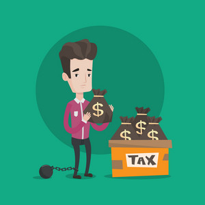 Chained to a large ball man standing near box with bags full of taxes. Businessman holding bag with dollar sign. Concept of tax time and taxpayer. Vector flat design illustration. Square layout.