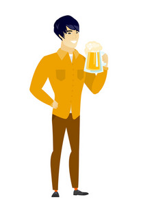 Cheerful asian business man drinking beer. Full length of smiling businessman with beer. Young happy business man holding mug of beer. Vector flat design illustration isolated on white background.