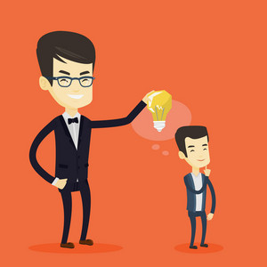 Cheerful asian business man giving idea to his partner. Young business man holding idea light bulb over head of his collegue. Business idea concept. Vector flat design illustration. Square layout.