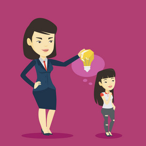 Cheerful asian business woman giving idea to her partner. Young business woman holding idea light bulb over head of her collegue. Business idea concept. Vector flat design illustration. Square layout.
