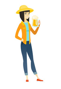 Cheerful asian farmer in sumer hat drinking beer. Full length of smiling farmer with glass of beer. Young happy farmer holding mug of beer. Vector flat design illustration isolated on white background