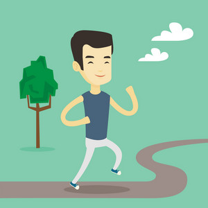 Cheerful asian man running. Happy male sporty runner running outdoors. Young smiling sportsman running in the park. Running man on the forest road. Vector flat design illustration. Square layout.