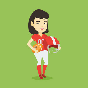 Cheerful asian rugby player holding ball and helmet in hands. Full length of young smiling rugby player in uniform. Vector flat design illustration in the circle isolated on background.