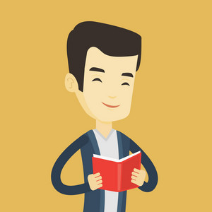 Cheerful asian student reading a book and preparing for exam. Smiling student reading a book. Student holding a book in hands. Concept of education. Vector flat design illustration. Square layout.