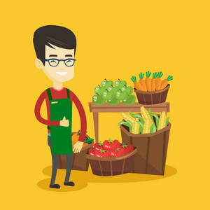 Cheerful asian supermarket worker giving thumb up. Young supermarket worker standing on the background of shelves with vegetables and fruits. Vector flat design illustration. Square layout.