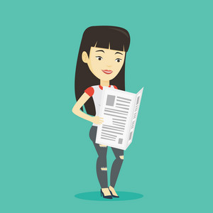 Cheerful asian woman reading the newspaper. Young smiling woman reading good news in newspaper. Woman standing with newspaper in hands. Vector flat design illustration. Square layout.