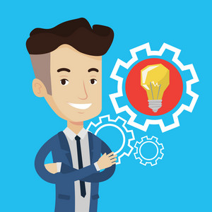 Cheerful businessman with business idea bulb in a cogwheel. Young smiling businessman having a business idea. Concept of successful business idea. Vector flat design illustration. Square layout.