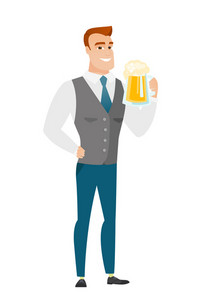 Cheerful caucasian business man drinking beer. Full length of smiling businessman with beer. Young happy business man holding mug of beer. Vector flat design illustration isolated on white background
