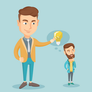 Cheerful caucasian business man giving idea to his partner. Young business man holding idea light bulb over head of his collegue. Business idea concept. Vector flat design illustration. Square layout.