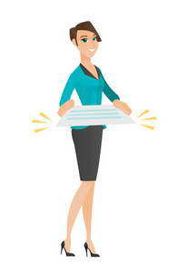 Cheerful caucasian business woman holding a contract. Full length of business woman with contract. Young business woman holding contract. Vector flat design illustration isolated on white background.