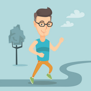 Cheerful caucasian man running. Happy male sporty runner running outdoors. Smiling sportsman running in the park. Running man on forest road. Vector flat design illustration. Square layout.