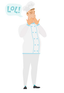 Chef cook in uniform laughing out loud. Chef cook and speech bubble with text - lol. Chef cook laughing out loud and covering his mouth. Vector flat design illustration isolated on white background.