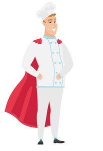 Chef cook wearing a red superhero cloak. Full length of chef cook dressed as a superhero. Successful chef cook superhero in red cloak. Vector flat design illustration isolated on white background.