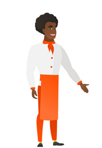 Chef cook with arm out in a welcoming gesture. Full length of welcoming young african-american chef cook. Chef cook doing welcome gesture. Vector flat design illustration isolated on white background.