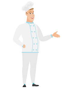 Chef cook with arm out in a welcoming gesture. Full length of welcoming young caucasian chef cook. Chef cook doing a welcome gesture. Vector flat design illustration isolated on white background.