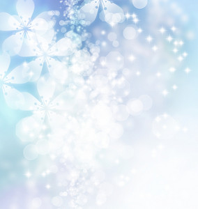 Cherry blossoms on ice blue gradient background
