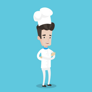 Chief cooker in uniform and hat standing with arms crossed. Young caucasian chef. Confident male chief cooker. Full length of cheerful smiling chef. Vector flat design illustration. Square layout