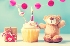 Child celebration theme with a cupcake and stuffed teddy bear