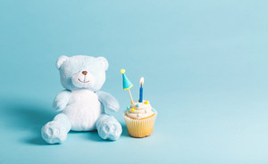 Child celebration theme with cupcakes and stuffed animals