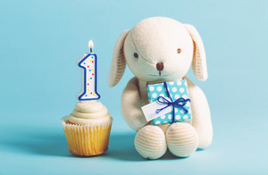 Child's first birthday celebration theme with cupcakes and stuffed animal