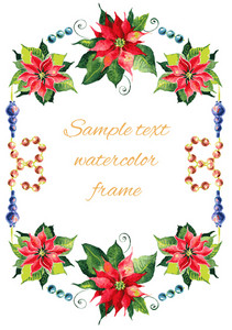 Christmas background with red poinsettia. Vector watercolor illustration.